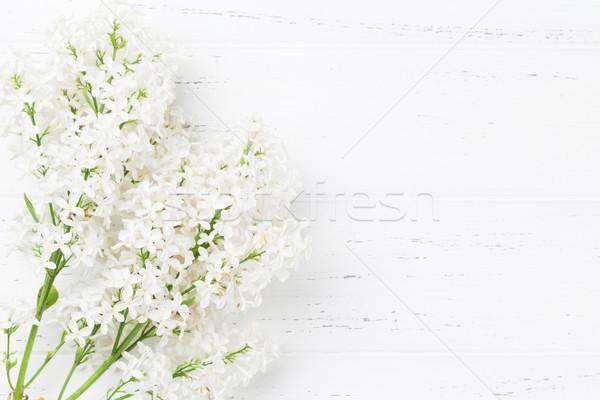 Fehér orgona virágok fából készült felső kilátás Stock fotó © karandaev