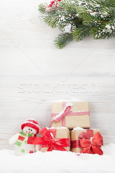 Christmas sneeuwpop speelgoed tak Stockfoto © karandaev