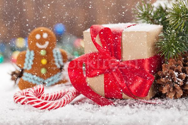 Photo stock: Noël · coffret · cadeau · bonbons · gingerbread · man · neige