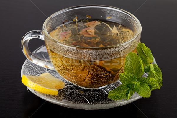 Csésze zöld tea citrom menta sötét fa asztal Stock fotó © karandaev