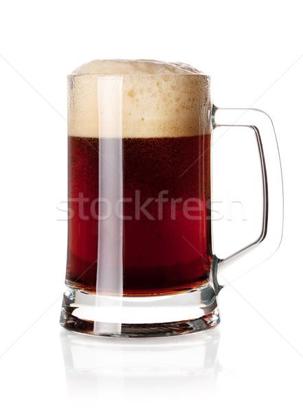 темно пива стекла коллекция холодно изолированный Сток-фото © karandaev