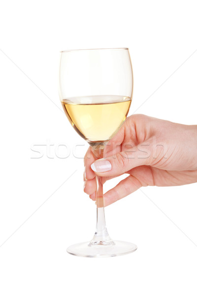 Glass of white wine in woman hand Stock photo © karandaev