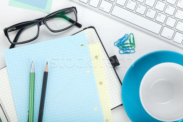 事務用品 キーボード コーヒーカップ コンピュータのキーボード 白 ストックフォト © karandaev