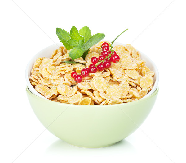 Stock photo: Fresh corn flakes with red currant