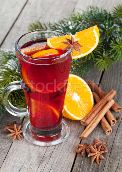 Christmas mulled wine with fir tree Stock photo © karandaev