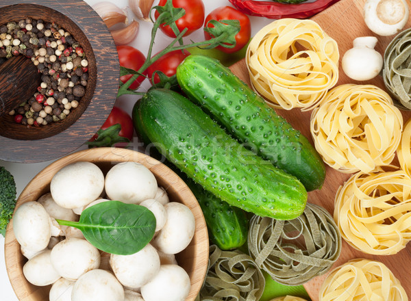 Stock fotó: Friss · hozzávalók · főzés · tészta · paradicsom · uborka