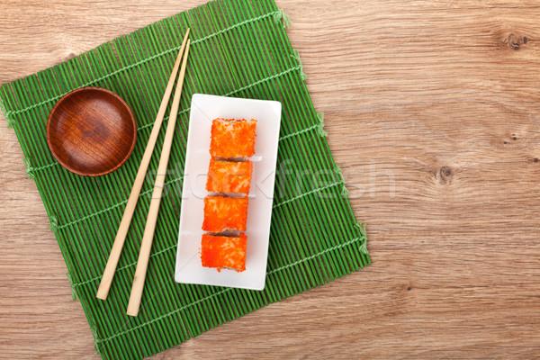 Sushi maki bambù tavola copia spazio spazio Foto d'archivio © karandaev