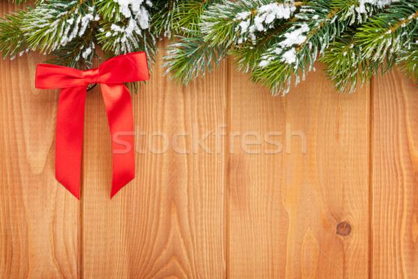 Wood texture with snow firtree christmas Stock photo © karandaev