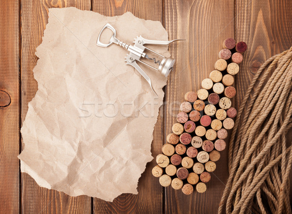 Bouteille de vin tire-bouchon pièce papier copier Photo stock © karandaev
