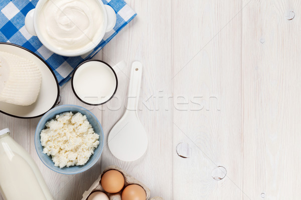 Stockfoto: Zure · room · melk · kaas · eieren · yoghurt