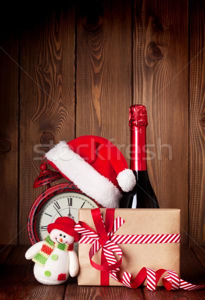Рождества шкатулке будильник шампанского Hat Сток-фото © karandaev
