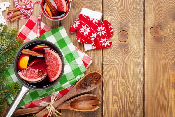 クリスマス ワイン 木製のテーブル コピースペース 食品 ストックフォト © karandaev