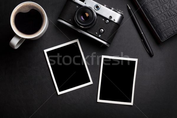 Zdjęć kamery kawy notatnika Fotografia Zdjęcia stock © karandaev