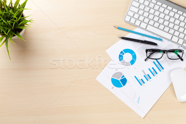 Office workplace with pc, charts and plant Stock photo © karandaev