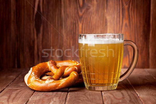 Lager beer glass and pretzel Stock photo © karandaev