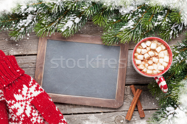 Christmas fir tree, hot chocolate, mittens and chalkboard Stock photo © karandaev
