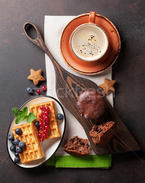 Café topo ver comida fundo Foto stock © karandaev