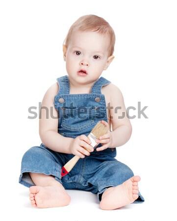 Küçük bebek işçi fırça boya yalıtılmış beyaz Stok fotoğraf © karandaev