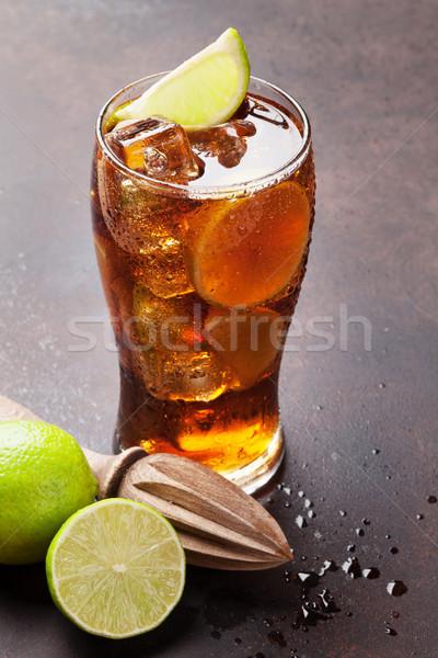 Kokteyl cam taş tablo parti bar Stok fotoğraf © karandaev