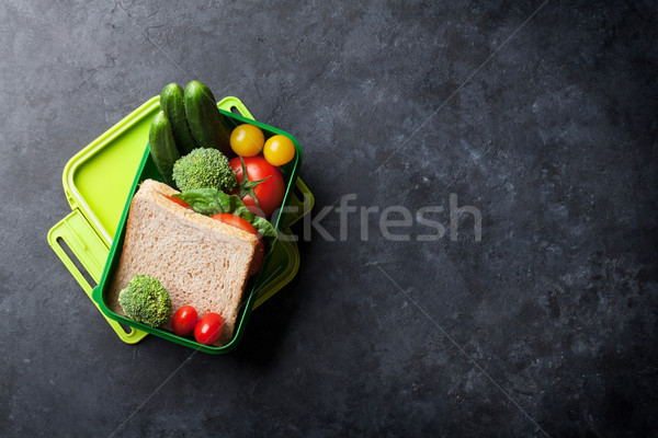 Pranzo finestra verdura sandwich pietra tavola Foto d'archivio © karandaev