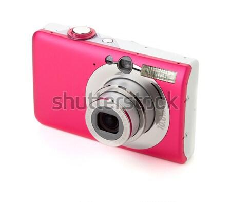 Digitális fényképezőgép izolált fehér lány női stúdió Stock fotó © karandaev