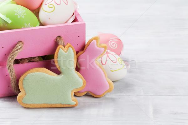 Stockfoto: Pasen · peperkoek · cookies · eieren · konijn · wenskaart