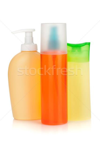Stock fotó: Kozmetika · üvegek · izolált · fehér · test · szépség