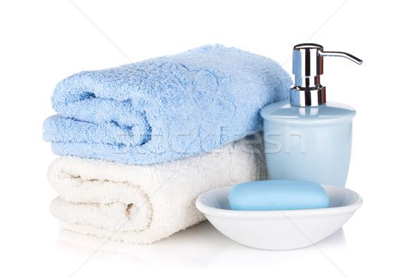 Stockfoto: Zeep · twee · handdoeken · geïsoleerd · witte · lichaam