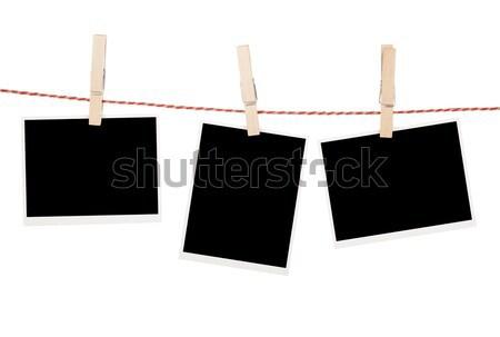 Fotók akasztás ruhaszárító izolált fehér űr Stock fotó © karandaev