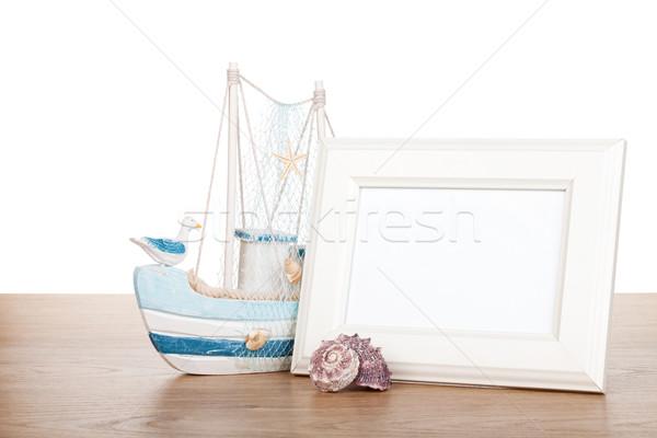 Photo frame tavolo in legno conchiglia barca sereno Foto d'archivio © karandaev
