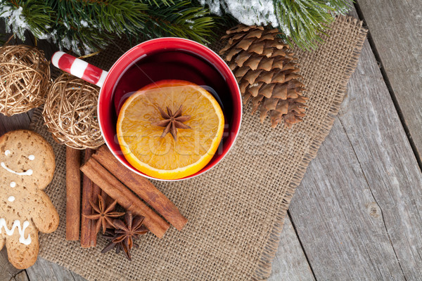 Christmas mulled wine with fir tree, gingerbread and spices Stock photo © karandaev