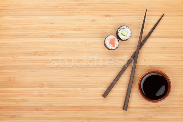 Maki sushi, chopsticks and soy sauce Stock photo © karandaev