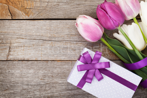 Fresh tulips bouquet and gift box Stock photo © karandaev