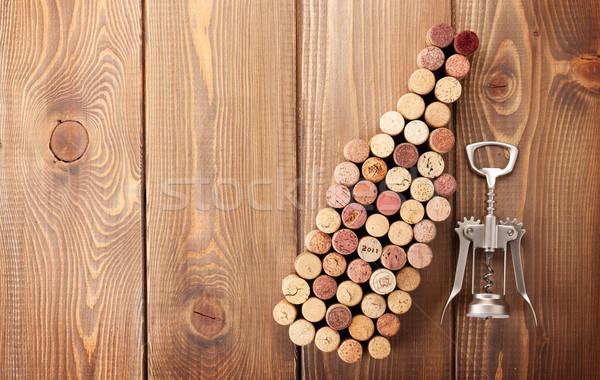 Wijnfles rustiek houten tafel top Stockfoto © karandaev