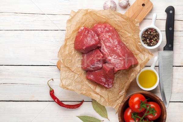 Fileto baharatlar ahşap masa üst Stok fotoğraf © karandaev