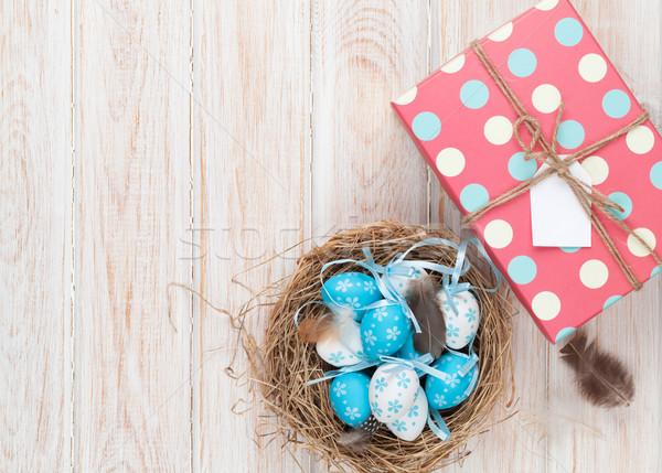 Pasqua blu bianco uova nido scatola regalo Foto d'archivio © karandaev
