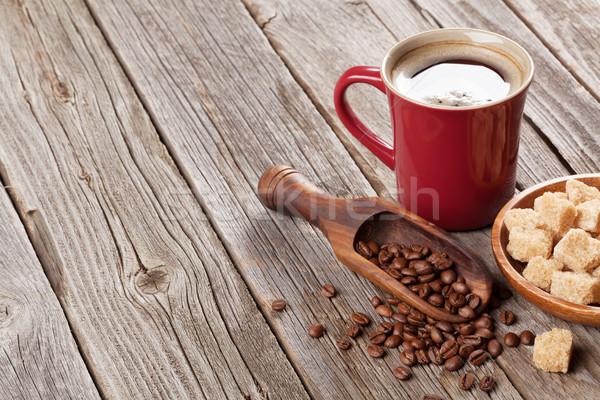 Stok fotoğraf: Kahve · fincanı · fasulye · esmer · şeker · ahşap · masa · görmek · bo