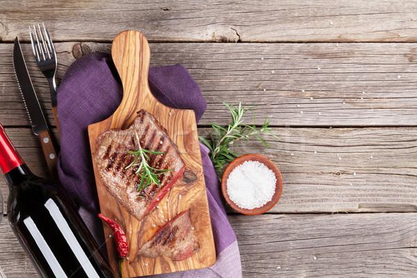 ストックフォト: 焼き · ワイン · ローズマリー · 塩 · 唐辛子