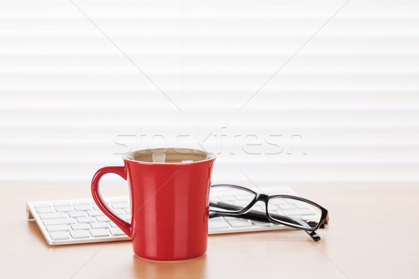Office workplace with pc, glasses and coffee Stock photo © karandaev