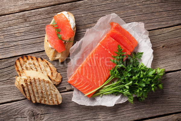 Sandwich toast with salmon Stock photo © karandaev