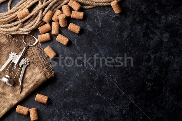 Wine corks and corkscrew Stock photo © karandaev