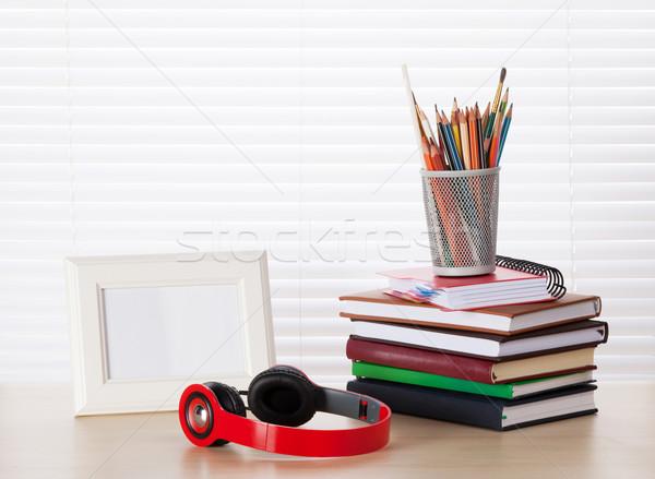 職場 フォトフレーム ヘッドホン 図書 オフィス 鉛筆 ストックフォト © karandaev