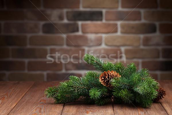 Karácsony fenyőfa ág fa asztal kilátás copy space Stock fotó © karandaev