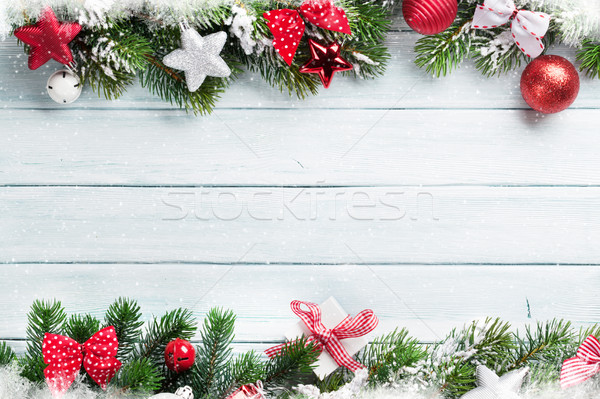 Stockfoto: Christmas · houten · sneeuw · decoratie · top