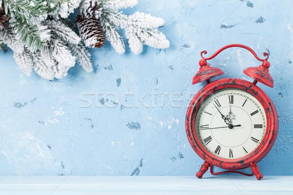 Noel çalar saat kar taş duvar bo Stok fotoğraf © karandaev