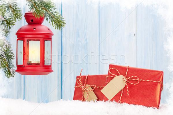 Natal vela lanterna caixas de presente neve Foto stock © karandaev