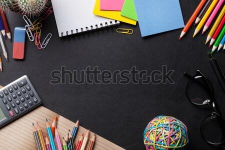 Irodai asztal készlet bőr textúra felső kilátás Stock fotó © karandaev