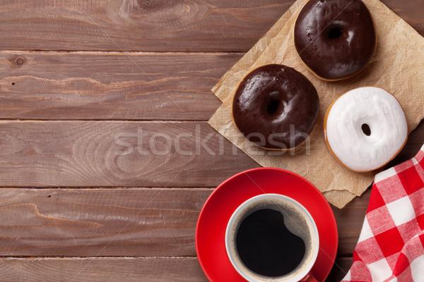 Kahve ahşap masa üst görmek bo Stok fotoğraf © karandaev