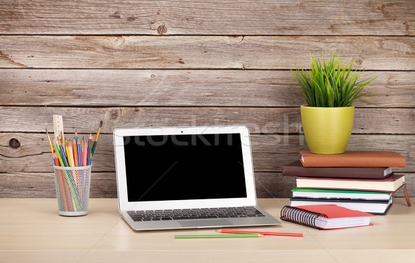 Stock photo: Office workplace with laptop and supplies
