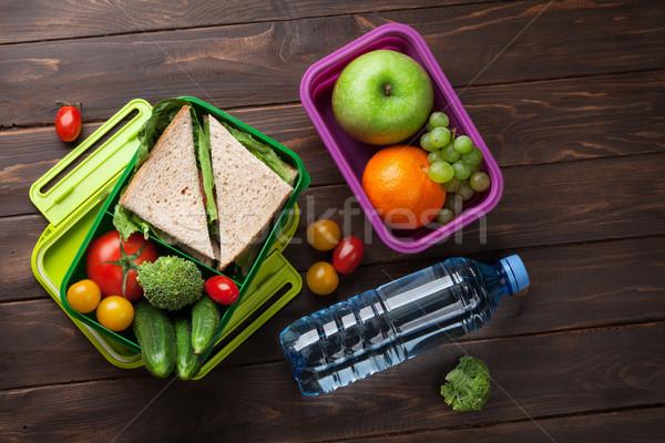 ストックフォト: ランチ · ボックス · 野菜 · サンドイッチ · 木製のテーブル · 子供
